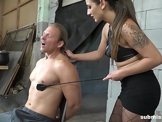 Dominant female treats her male slave with insane XXX fetish
