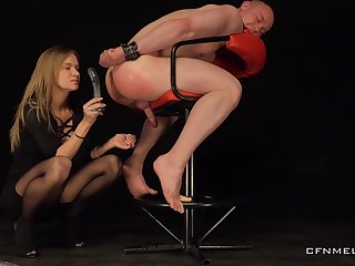 Male slave obeys her dirty sexual games and lust