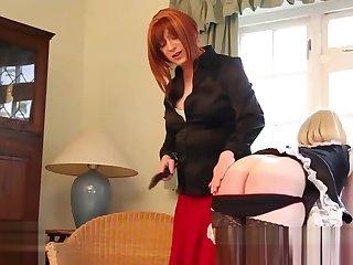 tgirl female-dominator Luci May Spanks blond tranny Maid fine butthole