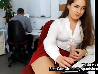 Horny Office Girl Cheats Chief Vaginal Toy Dildo