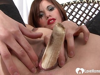 Gorgeous Babe In Stockings Masturbates Using Banana